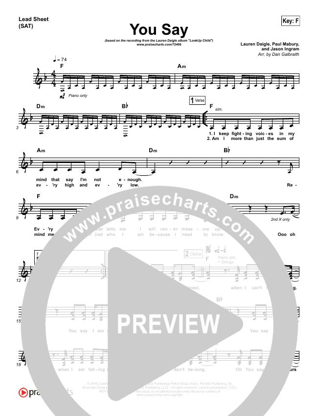 You Say (Piano) Piano/Vocal Pack (Lauren Daigle)