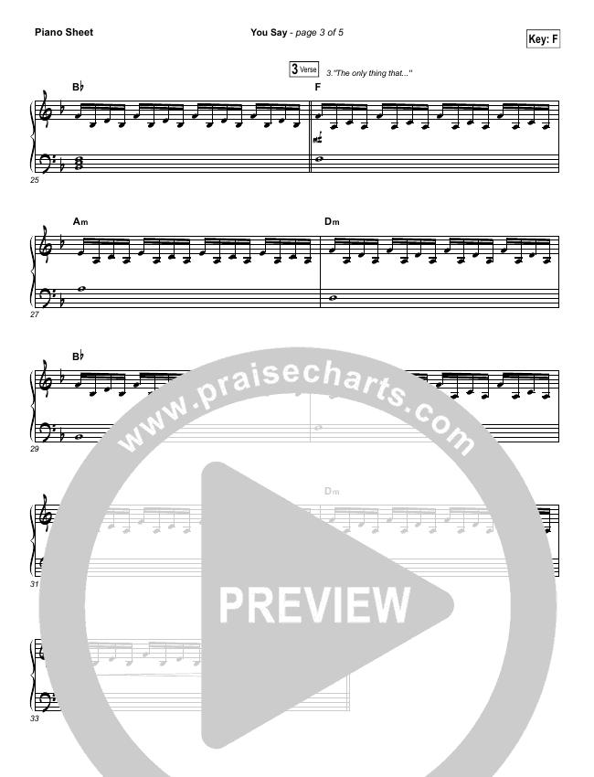 You Say (Piano) Piano Sheet (Lauren Daigle)