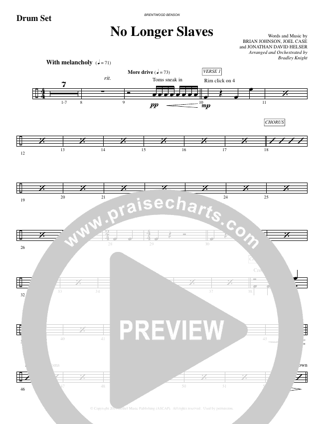 No Longer Slaves (Choral) Orchestration (Brentwood Benson Choral / Arr. Bradley Knight)