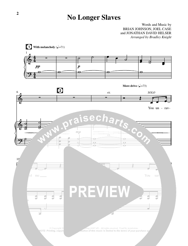 No Longer Slaves (Choral) Piano Vocal (Brentwood Benson Choral / Arr. Bradley Knight)