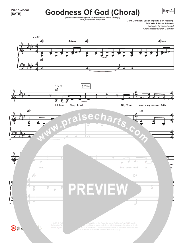 Goodness Of God (Choral) Orchestration (PraiseCharts Choral / Bethel Music)