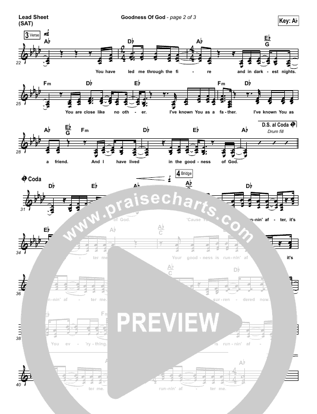 Goodness Of God (Choral) Lead & Piano/Vocal (PraiseCharts Choral / Bethel Music / Arr. Luke Gambill)