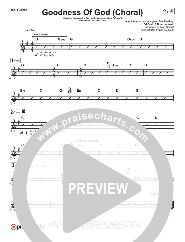 Goodness Of God (Choral) Rhythm Chart (PraiseCharts Choral / Bethel Music)