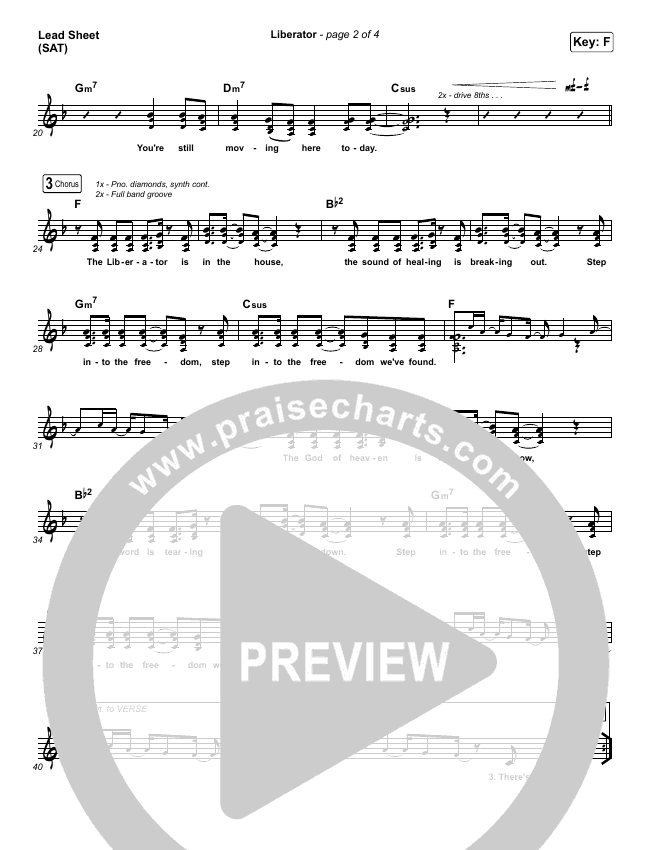 Liberator Lead Sheet (SAT) (Corey Voss / Madison Street Worship / Annalise Bush)