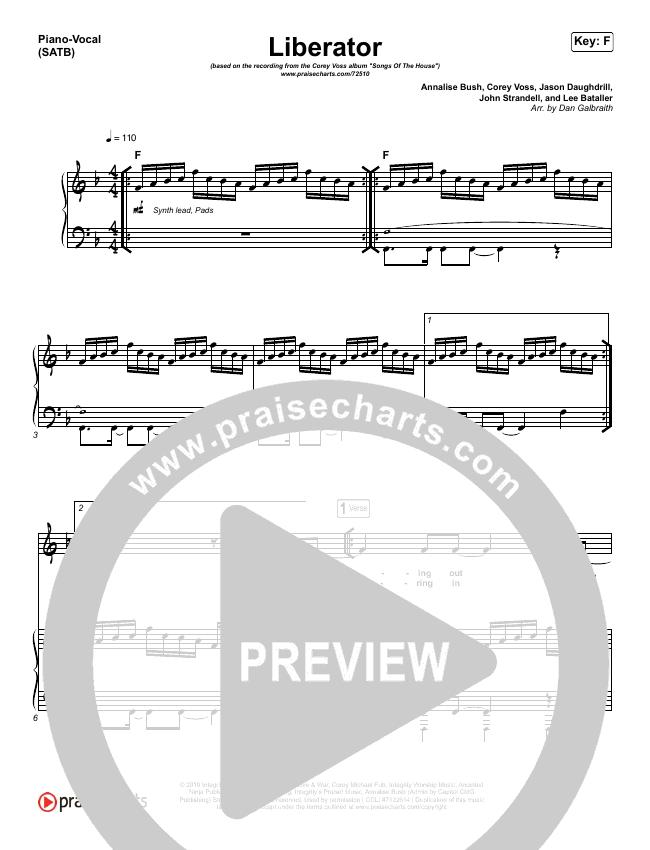 Liberator Piano/Vocal (SATB) (Corey Voss / Madison Street Worship / Annalise Bush)