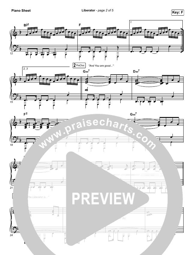 Liberator Piano Sheet (Corey Voss / Madison Street Worship / Annalise Bush)