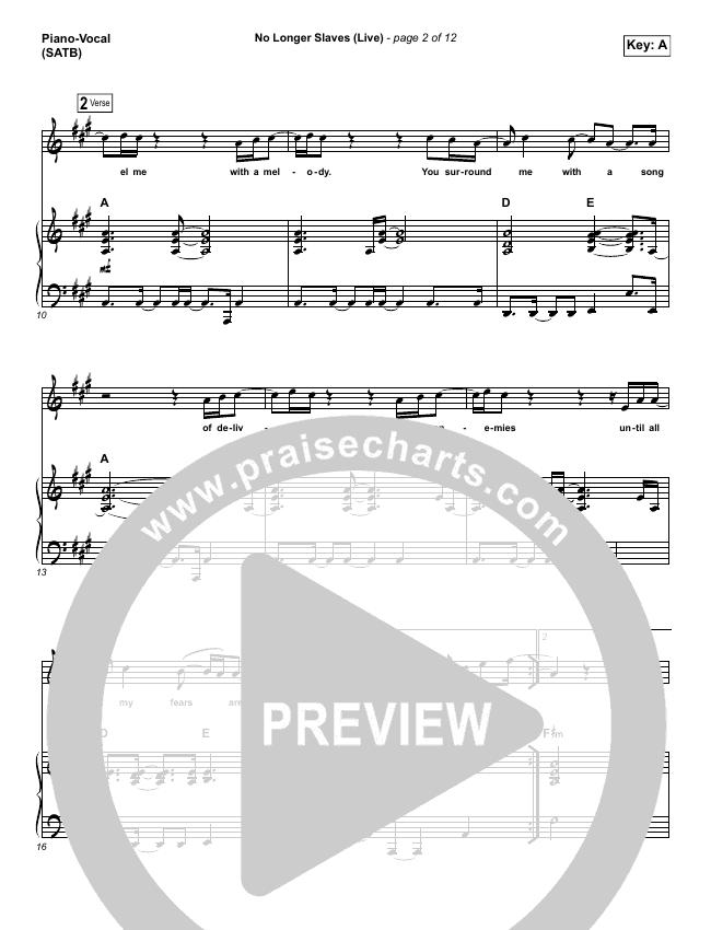 No Longer Slaves Piano/Vocal (SATB) (Zach Williams)