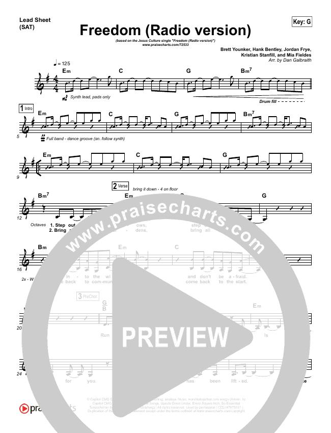 Freedom (Radio) Piano/Vocal Pack (Jesus Culture / Kim Walker-Smith)