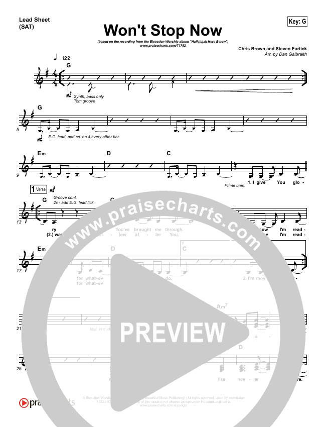Won't Stop Now (Choral) Piano/Vocal (SATB) (PraiseCharts Choral / Elevation Worship)