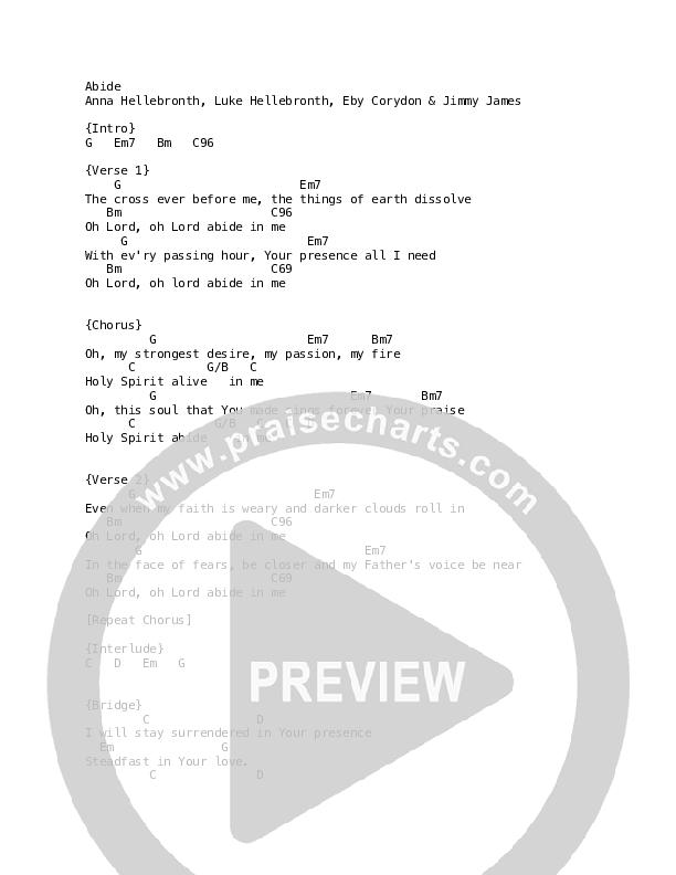 Abide Chord Chart (Luke + Anna Hellebronth)