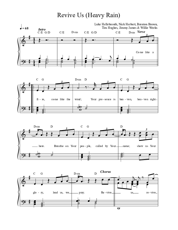 Revive Us (Heavy Rain) Lead Sheet (SAT) (Luke + Anna Hellebronth)