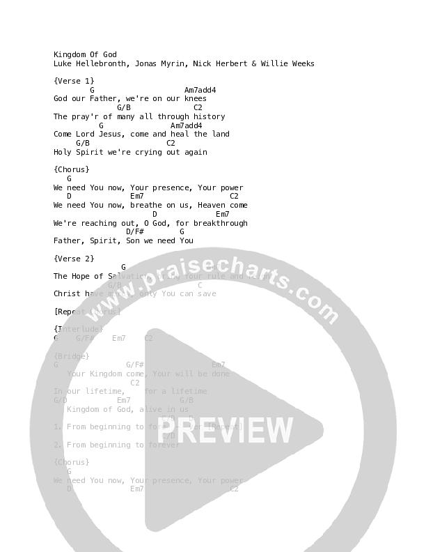 Kingdom Of God Chord Chart (Luke + Anna Hellebronth)
