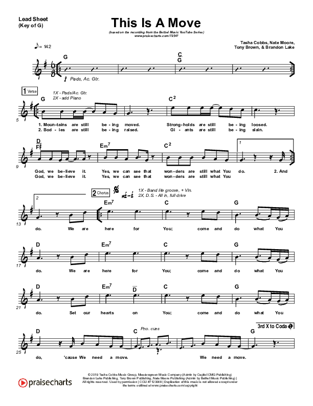 This Is A Move (YouTube) Lead Sheet (Melody) (Brandon Lake / Bethel Music)