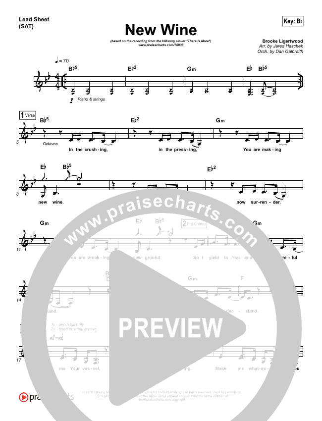 New Wine (Choral) Lead & Piano/Vocal (PraiseCharts Choral / Hillsong Worship)