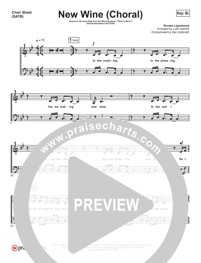 New Wine (Choral) Choir Sheet (SATB) (PraiseCharts Choral / Hillsong Worship)