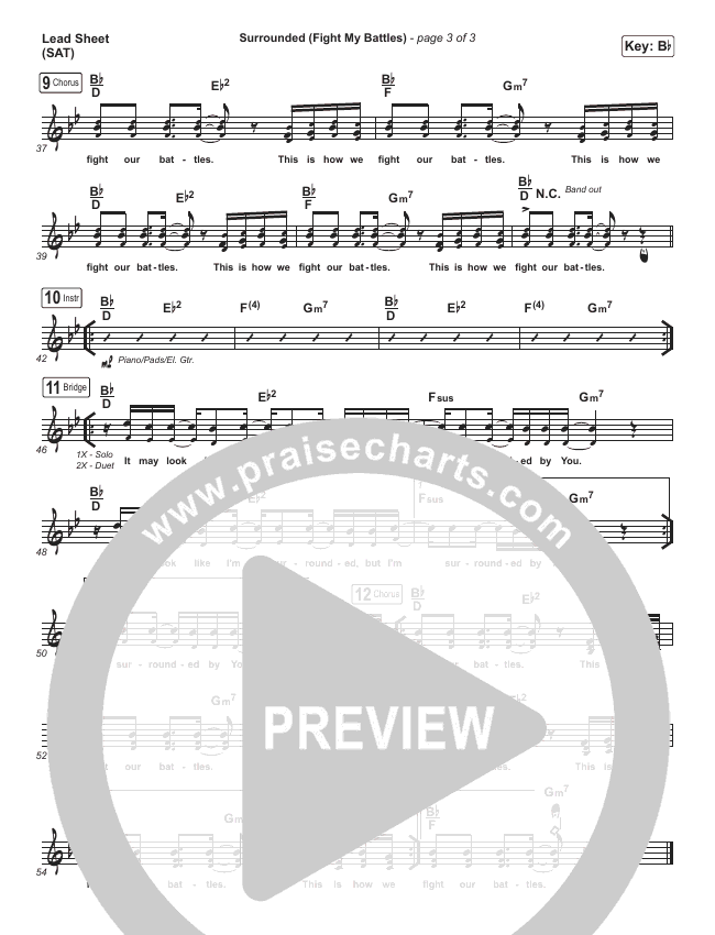 Surrounded (Fight My Battles) Lead Sheet (SAT) (Michael W. Smith)