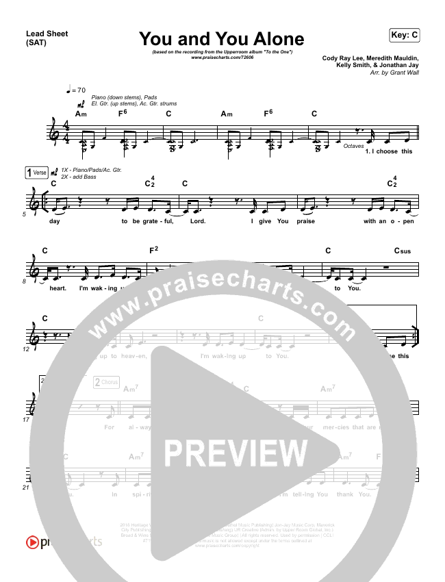You And You Alone Lead Sheet (SAT) (UPPERROOM / Meredith Mauldin / Kelly Smith / Jonathan Jay / Cody Rae Lee)