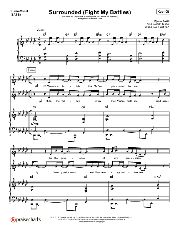 Surrounded (Fight My Battles) Piano/Vocal (SATB) (UPPERROOM / Elyssa Smith)