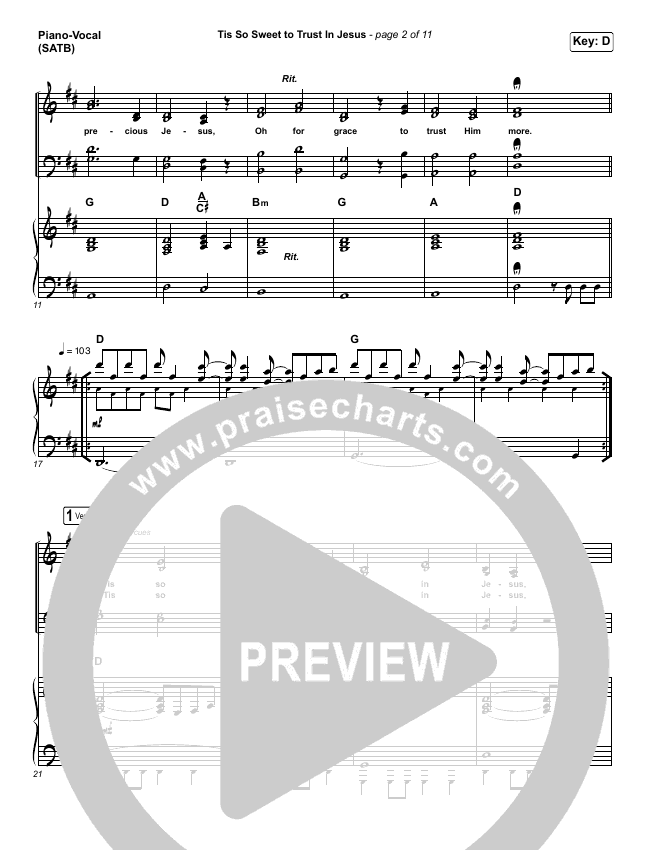 Tis So Sweet To Trust In Jesus (Live) Piano/Vocal (SATB) (Shane & Shane)