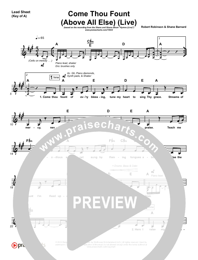 Come Thou Fount (Above All Else) (Live) Lead Sheet (Melody) (Shane & Shane)