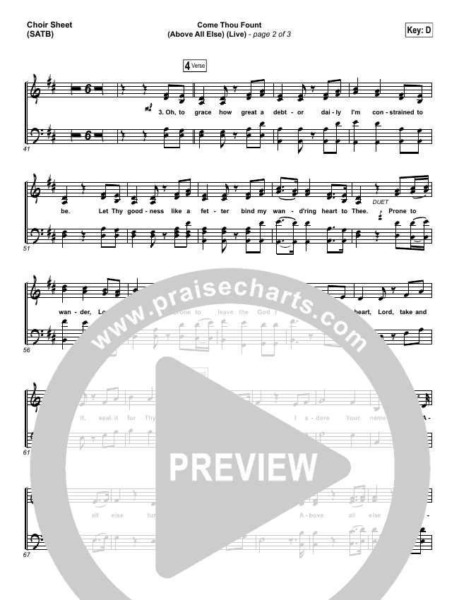 Come Thou Fount (Above All Else) (Live) Choir Sheet (SATB) (Shane & Shane)