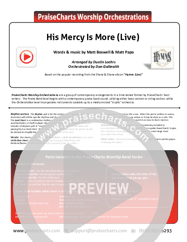 His Mercy Is More (Live) Orchestration (Shane & Shane)
