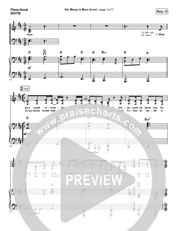 His Mercy Is More (Live) Piano/Vocal (SATB) (Shane & Shane)