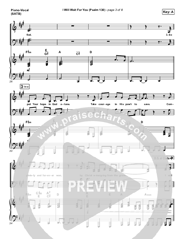 I Will Wait For You (Psalm 130) (Live) Piano/Vocal (SATB) (Shane & Shane)