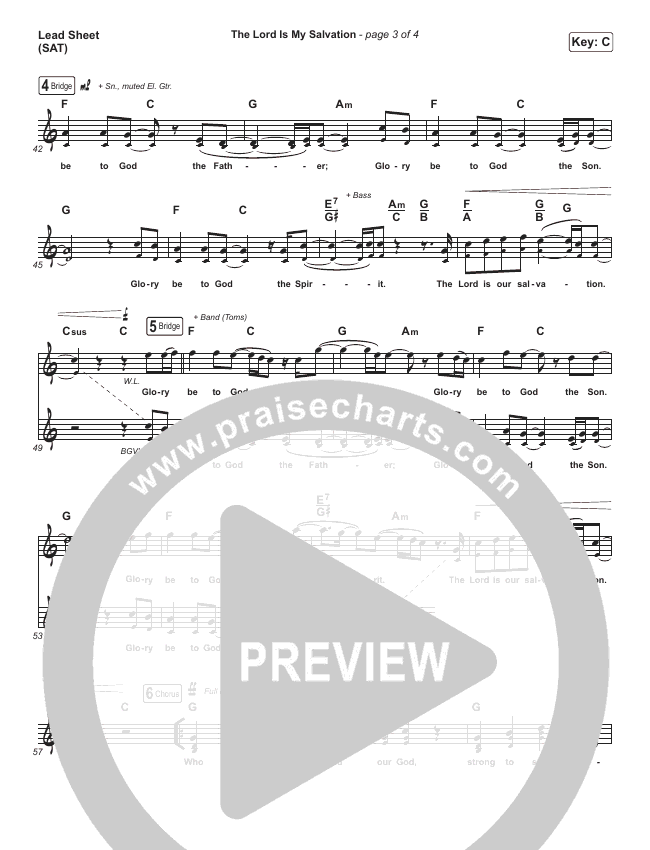 The Lord Is My Salvation (Live) Lead Sheet (SAT) (Shane & Shane)
