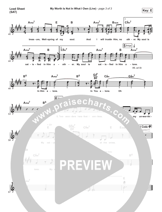 My Worth Is Not In What I Own (Live) Lead Sheet (SAT) (Shane & Shane)