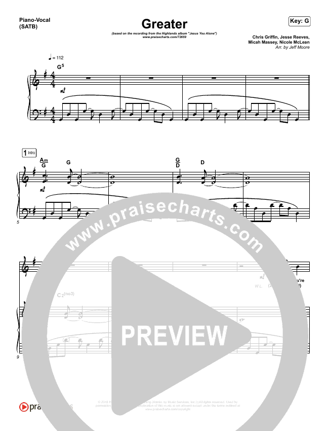 Greater Piano/Vocal (SATB) (Highlands Worship)