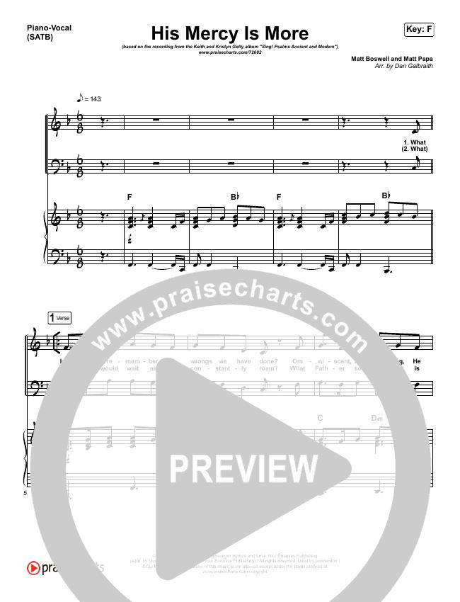 His Mercy Is More Piano/Vocal Pack (Matt Papa / Matt Boswell / Keith & Kristyn Getty)