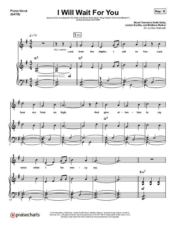 I Will Wait For You (Psalm 130) Piano/Vocal (SATB) (Keith & Kristyn Getty)
