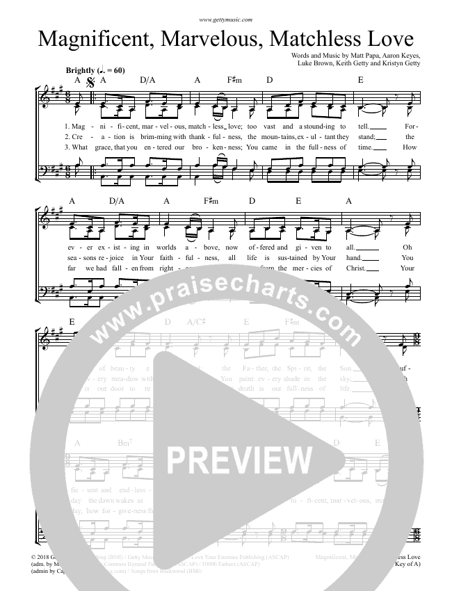 Magnificent Marvelous Matchless Love Choir Sheet (SATB) (Keith & Kristyn Getty)
