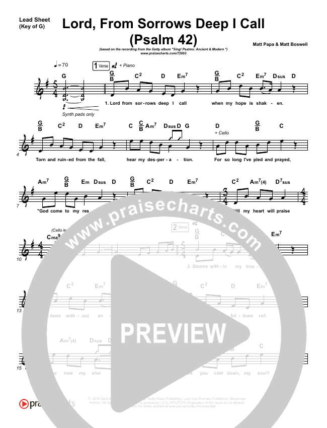 Lord From Sorrows Deep I Call (Psalm 42) Lead Sheet (Melody) (Keith Getty / Kristyn Getty)
