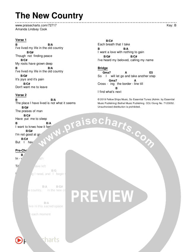The New Country Chord Chart (Editable) - Amanda Lindsey Cook