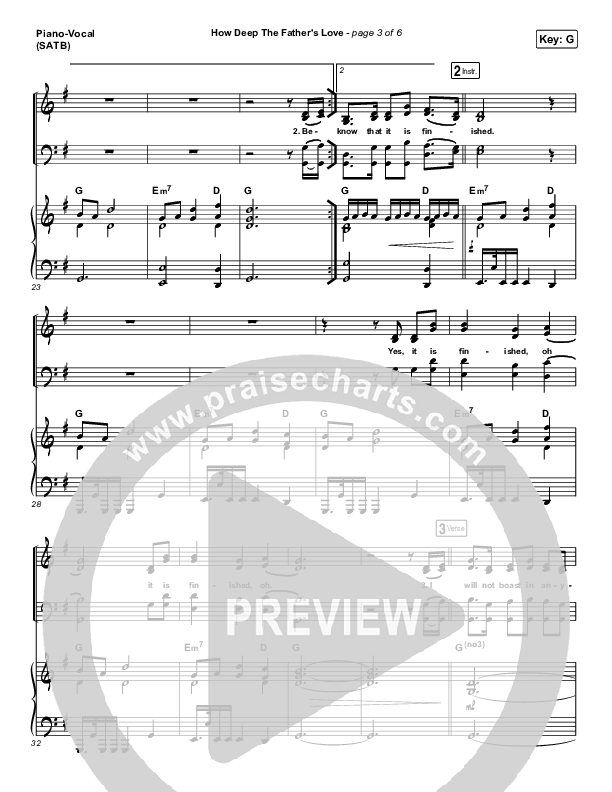 How Deep The Father's Love For Us Piano/Vocal (SATB) (Austin Stone Worship)