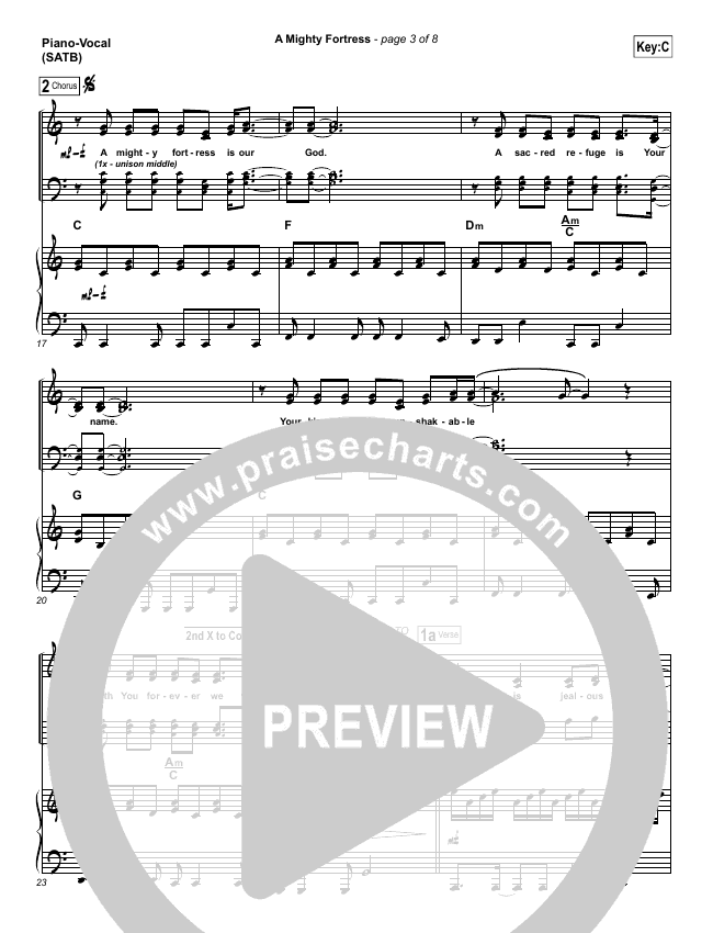 A Mighty Fortress Piano/Vocal (SATB) (Christy Nockels)