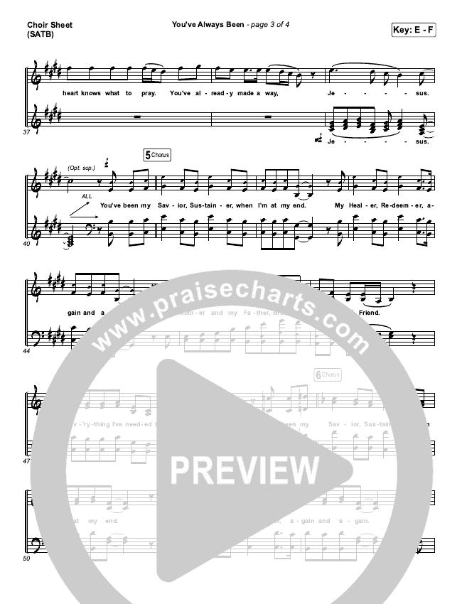You've Always Been Choir Sheet (SATB) (Unspoken)
