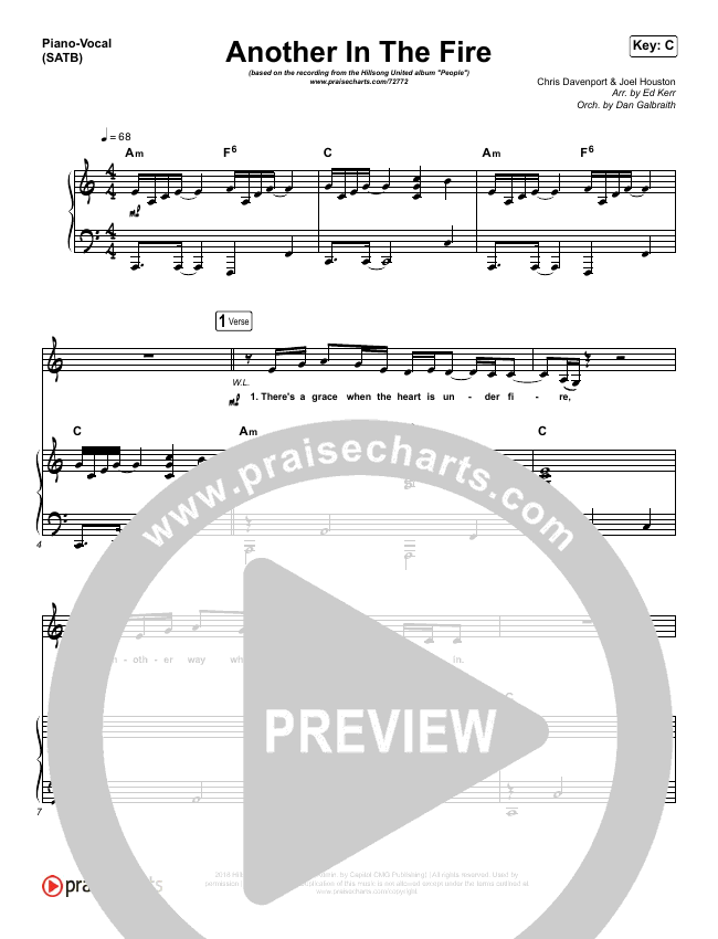 Another In The Fire Piano/Vocal (SATB) (Hillsong UNITED)