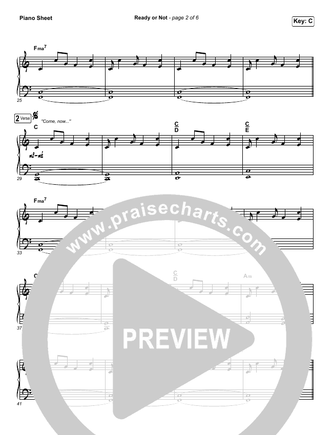 Ready Or Not Piano Sheet (No Vocals) - Hillsong United