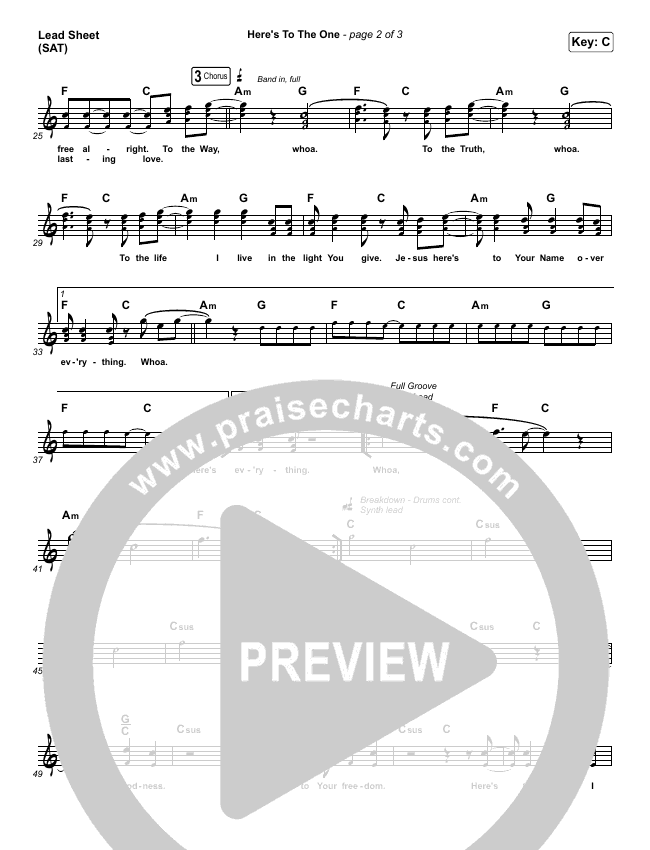 Here's To The One Lead Sheet (SAT) (Hillsong UNITED)