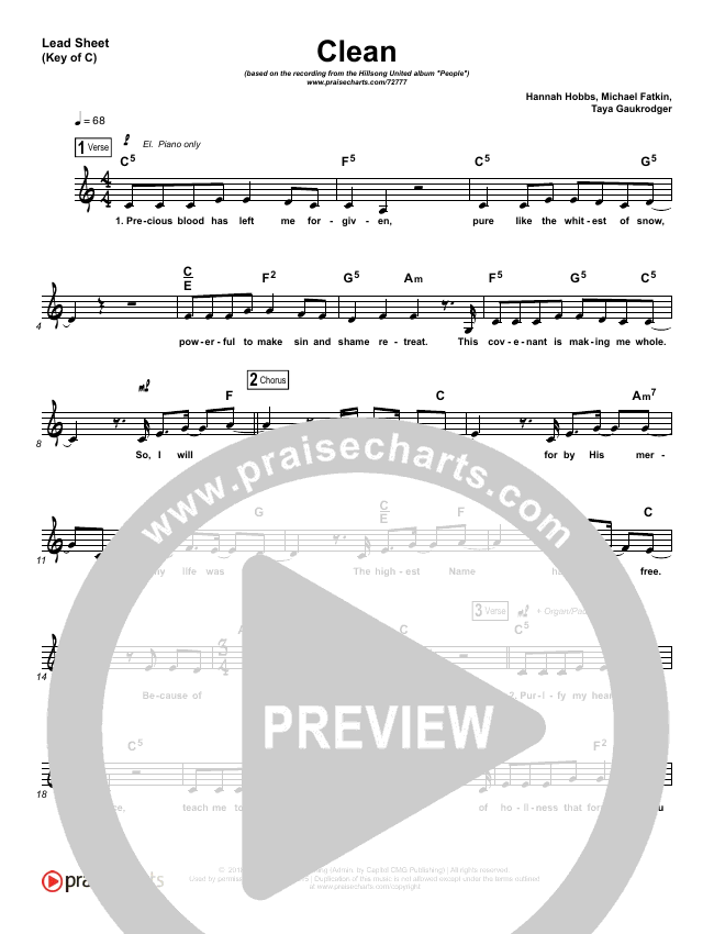 Clean Lead Sheet (Melody) (Hillsong UNITED)