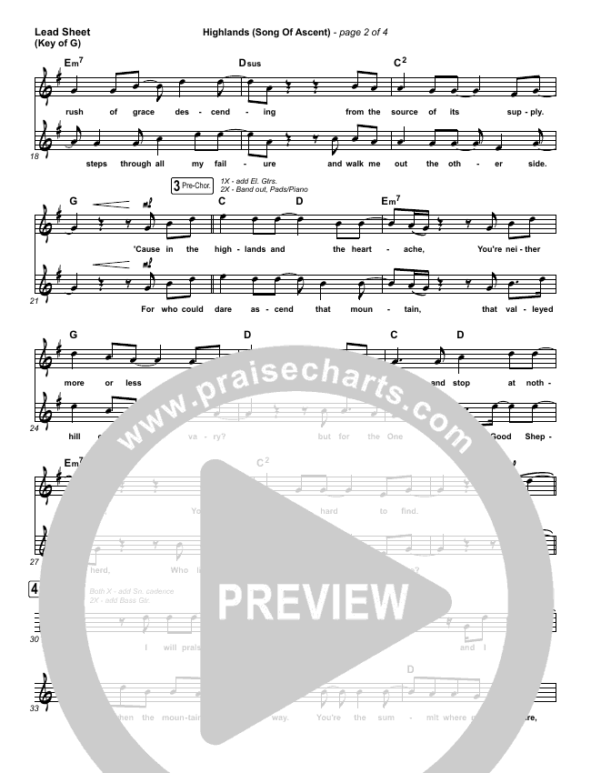 Highlands (Song Of Ascent) Lead Sheet (Melody) (Hillsong UNITED)