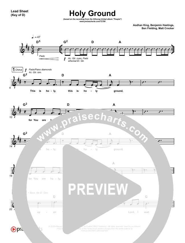 Holy Ground Lead Sheet (Melody) (Hillsong UNITED)