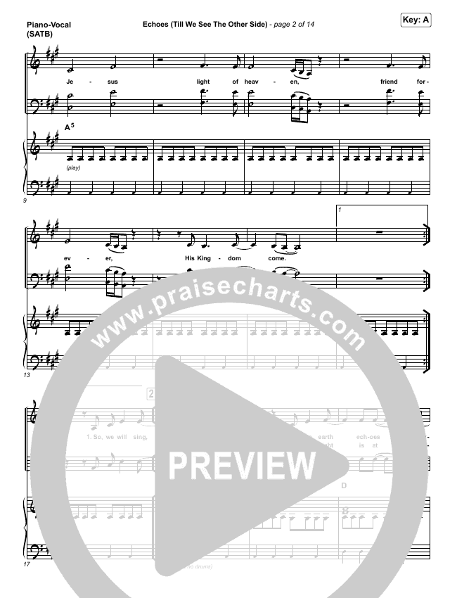 Echoes (Till We See The Other Side) Piano/Vocal (SATB) (Hillsong UNITED)