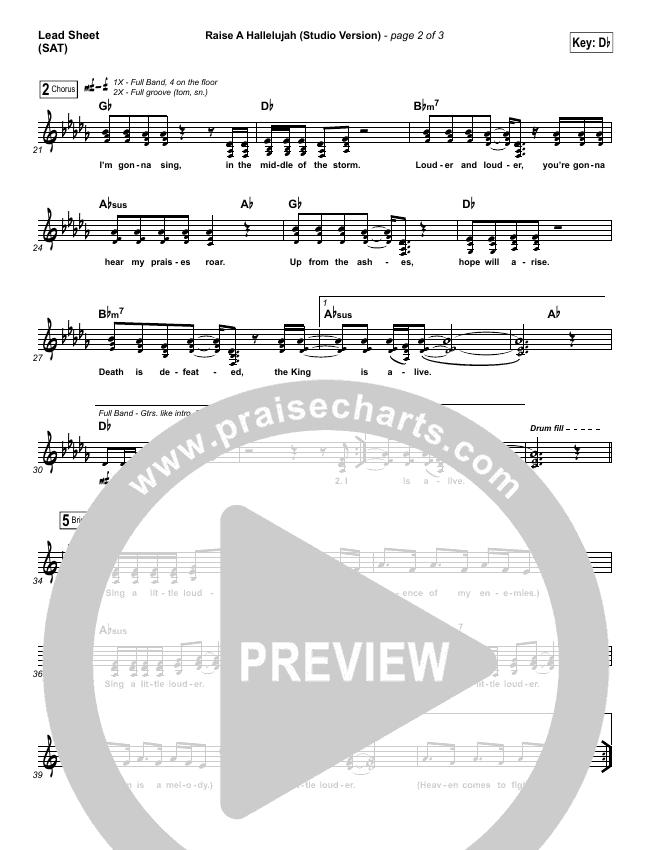 Raise A Hallelujah (Studio) Lead Sheet (SAT) (Bethel Music)