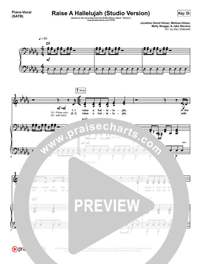 Raise A Hallelujah (Studio) Piano/Vocal (SATB) (Bethel Music)