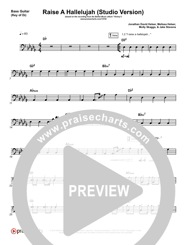 Raise A Hallelujah (Studio) Bass Guitar (Bethel Music)