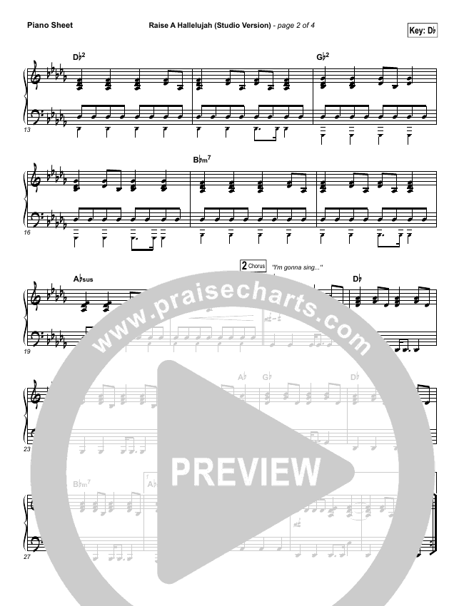 Raise A Hallelujah (Studio) Piano Sheet (Bethel Music)